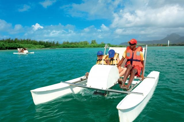 Pedalo moment at Ambre Resort & Spa, Mauritius  Come and enjoy a fun time with your family http://www.ambremauritius.com