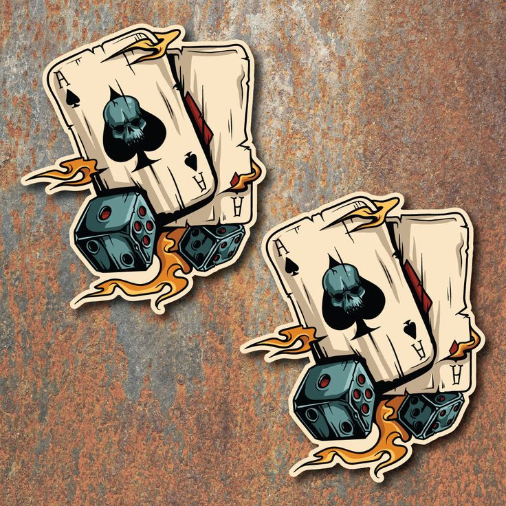 Details About Gambling Sticker Set Ace Skull Car