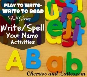 We participating in a Wednesday Play Group called Play to Write over at Cherrios and Lattes . This is week 3- Write/Spell Your Name.    ...