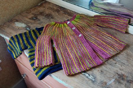 Colorful, baby sweater pattern.