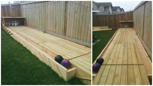 diy backyard wood bowling alley free plan diy outdoor game