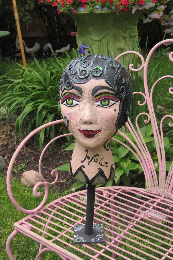 Art deco style mannequin head stand original hand painted objet D' Art hat stand home decor or retail display