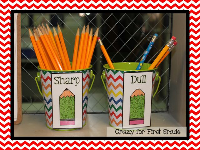 I've seen the dull/sharp buckets in action in the classroom, and they're such a lifesaver!  No more interruptions of kids sharpening pencils. (Other great ideas here too!)