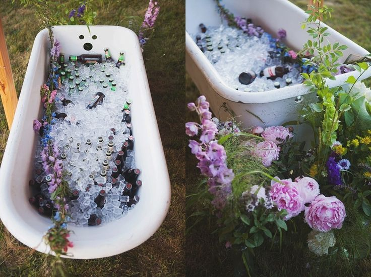 bathtub beer cocktails alcohol presentation flowers hipster wedding