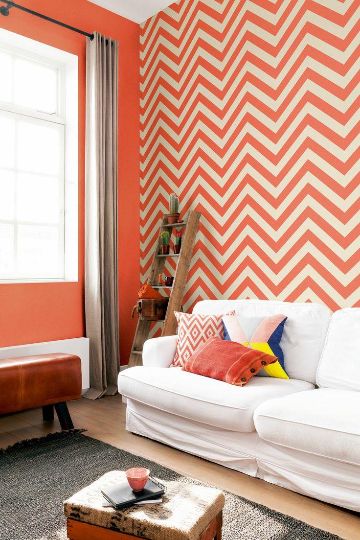 Oranje zigzag Behang Orange chevron Wallpaper collection Art of Living - BN Wallcoverings