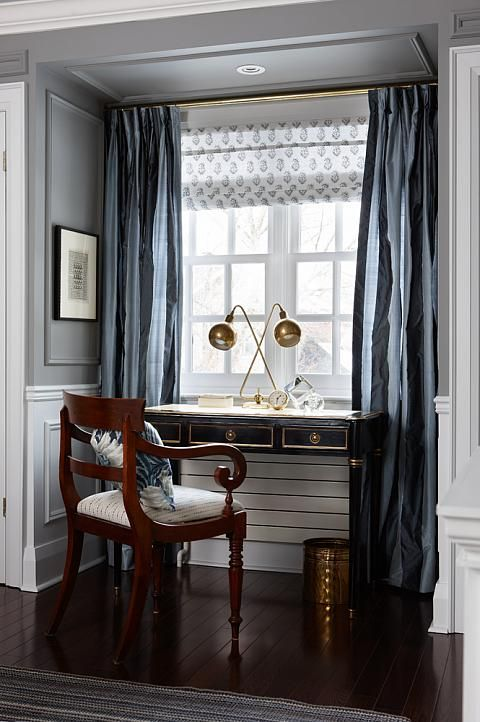 sarah richardson || the window treatment combo - the wall moulding painted the wall color with white trim moulding below. love that approach!