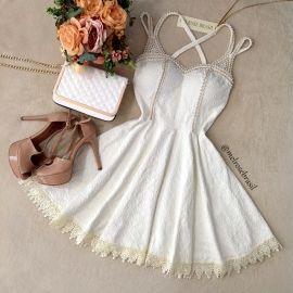 Vestido Marília  Jacquard Premium C/ BOJO  (COR Off White)