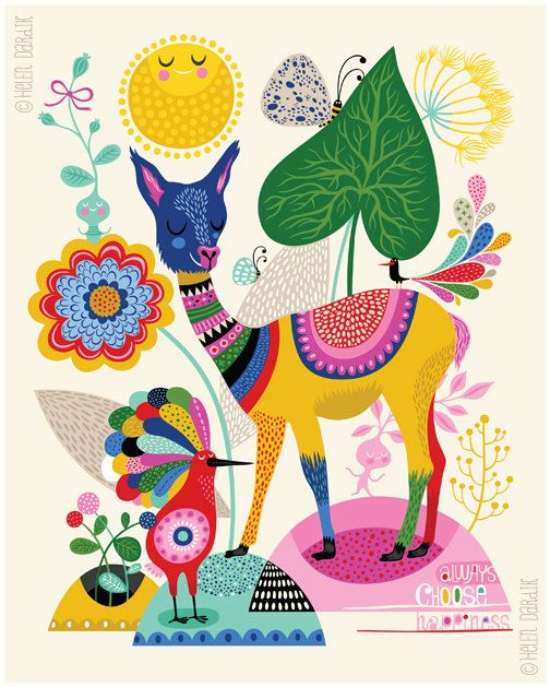 Llama Happiness... limited edition giclee print of by helendardik