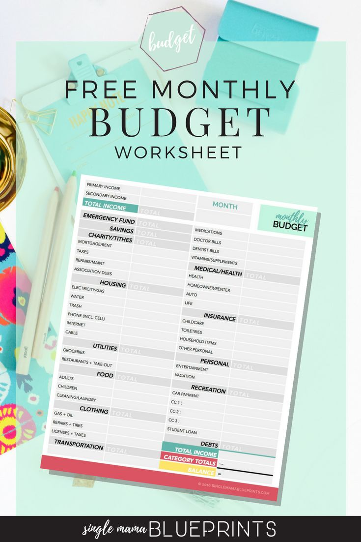 Free Monthly Budget Worksheet Simple Save Money