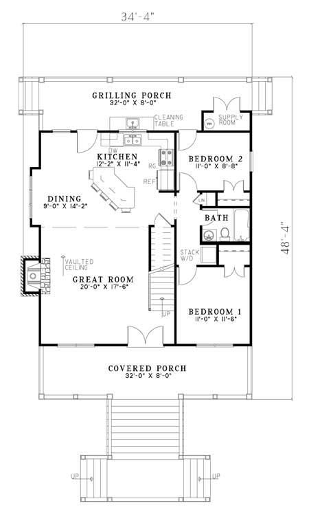 House plan 110 00960 cape cod plan 1 544 square feet 3 for Simple cape cod floor plans