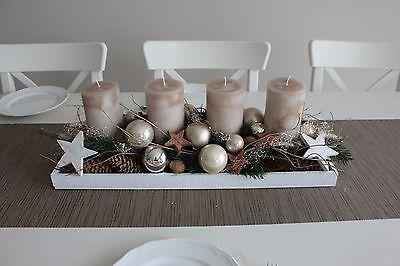 Adventsgesteck Weihnachtsgesteck Kranz Weihnachten Landhaus Adventskanz länglich