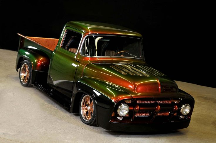 "'56 Ford F-100. Runs on 100% liquid propane. PPG Waterborne ""Water Snake"" paint. The propane factor is nice but the PAINT!!!!"