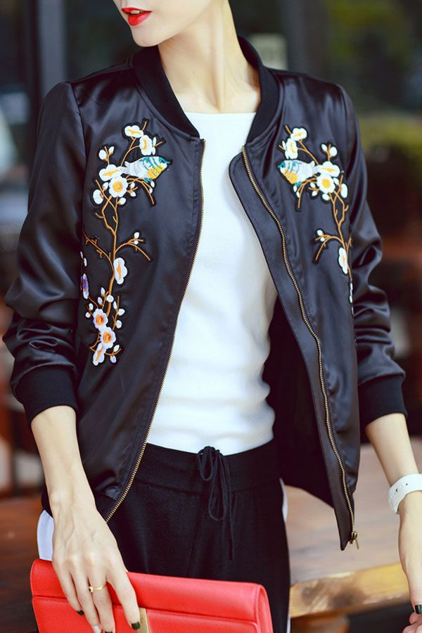 Flower Embroidered Bomber Jacket Click on picture to purchase!