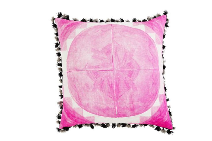 "Bonnie and Neil Cushion #FC58 - LARGE DOT TILE (FRONT) - PINK 24"" X 24"""