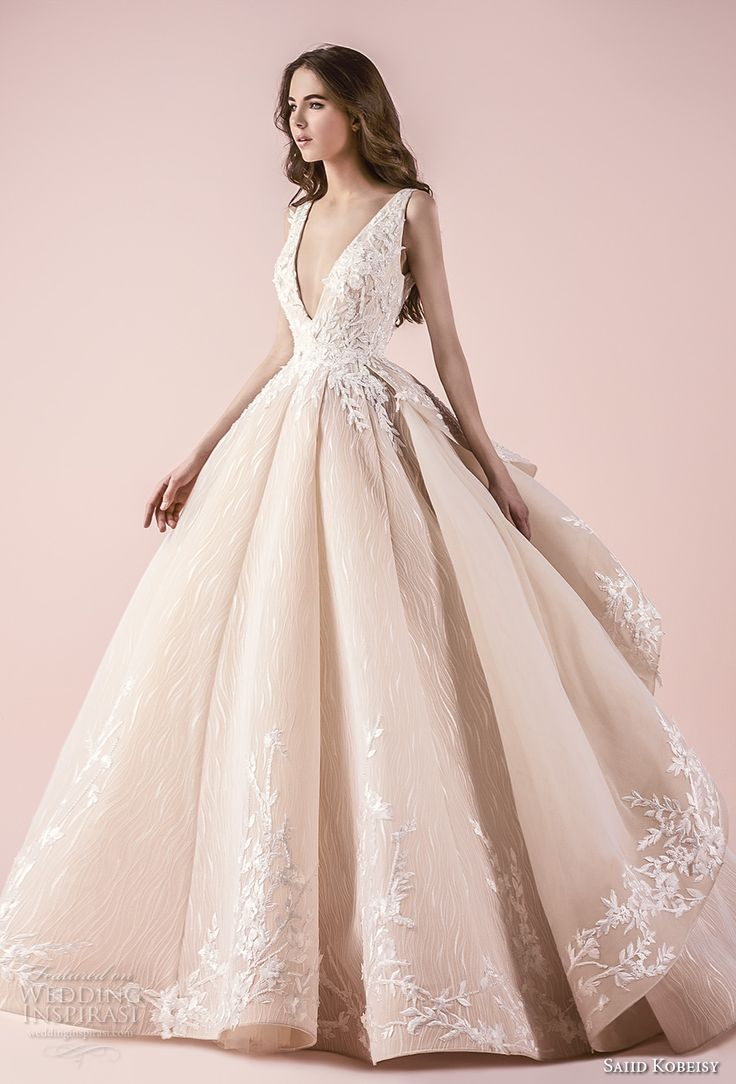 saiid kobeisy 2018 bridal sleeveless deep v neck heavily embellished bodice romanitc princess blush color ball gown wedding dress (3258) mv -- Saiid Kobeisy 2018 Wedding Dresses