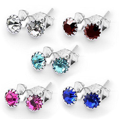 Piercing-Schmuck 5 Paare 6er Pack Set MM Blume Birthstone 925 Sterling Silber Ohrstecker - http://schmuckhaus.online/chennai-jewellery/piercing-schmuck-5-paare-6er-pack-set-mm-blume-925