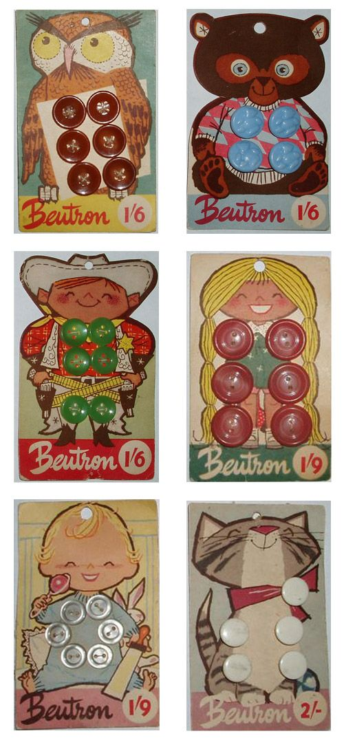 Adorable vintage Beutron button cards