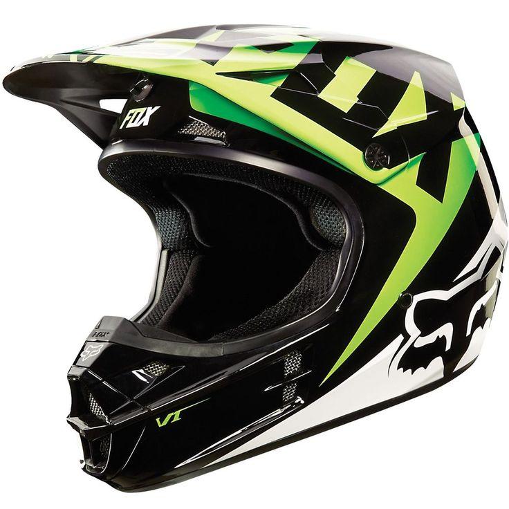 FOX RACING V1 RACE MX SNELL HELMET KAWASAKI GREEN LARGE MOTOCROSS OFFROAD  #FOX