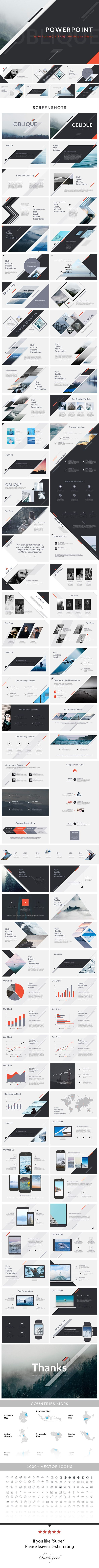 Oblique - PowerPoint Presentation Template. Download: https://graphicriver.net/item/oblique-powerpoint-presentation-template/19780655?ref=thanhdesign