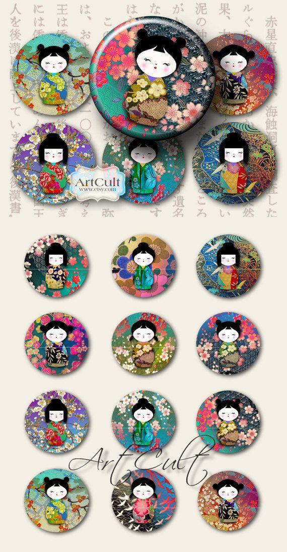 BAMBOLE WASHI CHIYOGAMI - immagini di 2,5 pollici cerchi Digital Collage foglio stampabile download Kokeshi per magneti di specchi Pocket cupcake toppers