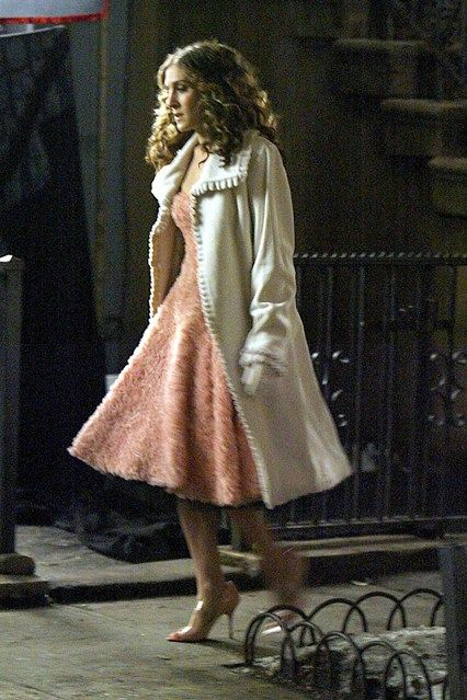 dress and light colored coat