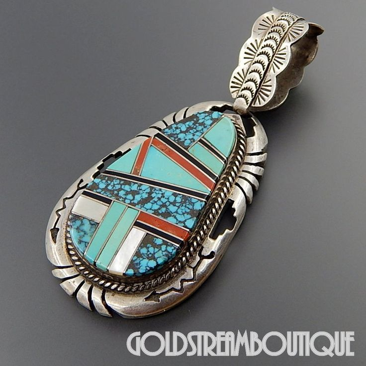 inlay sterling genuine pendant silver and turquoise