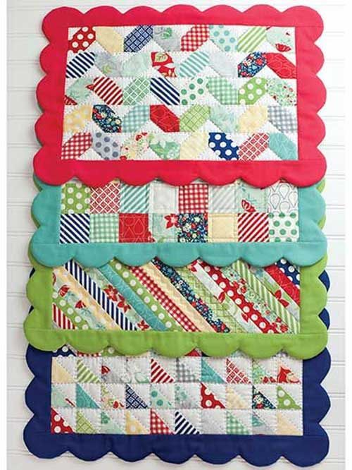 These scrappy placemats are a great way to use up your small fabric scraps. Featuring four different designs, these place mats are sure to help you spice u