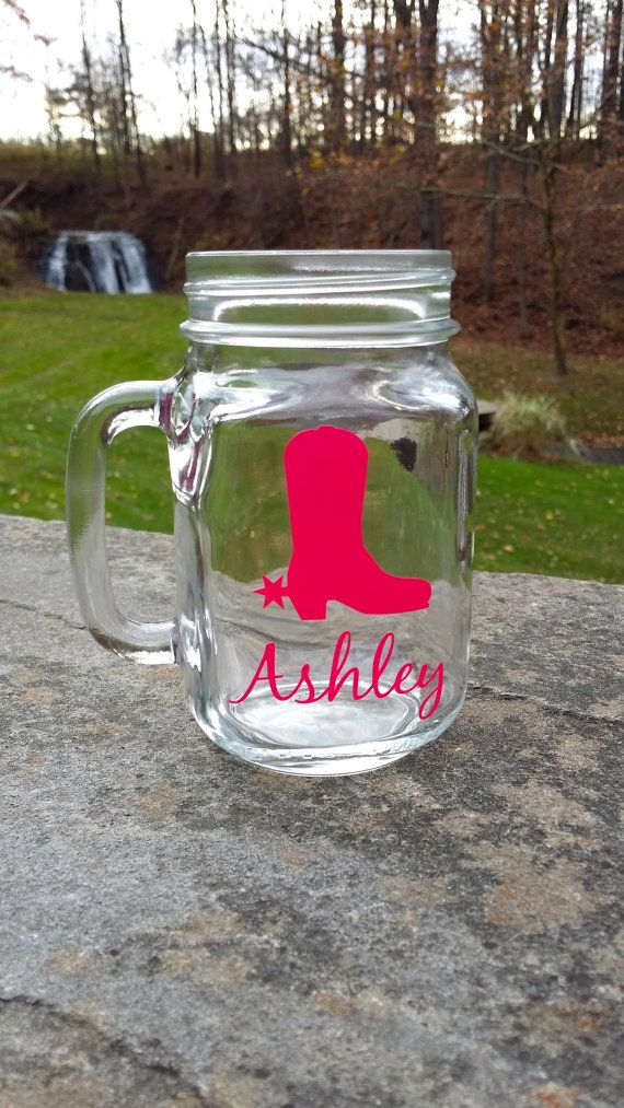 Cowgirl Mason Jar Personalized Glasses With Cowboy Boot Christmas Gift Idea Sorority