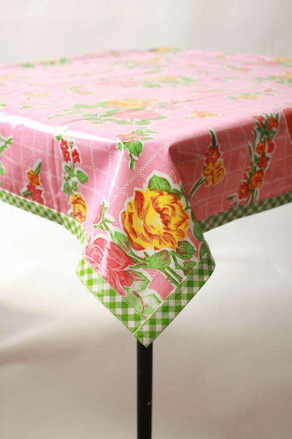 48 x 48 Rose and Grid Pink with Lime Gingham Trim Oilcloth Tablecloth