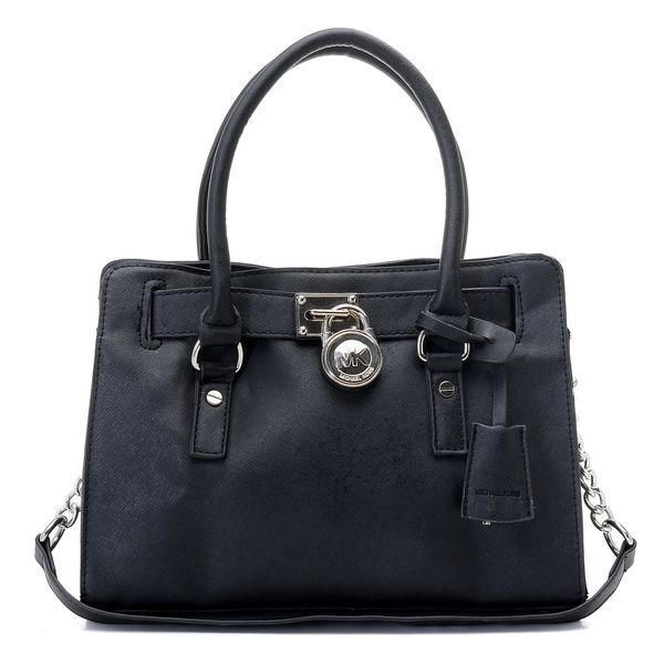 Michael Kors Hamilton Satchel Black Silver $79.00  http://www.newperfectstyle.com/
