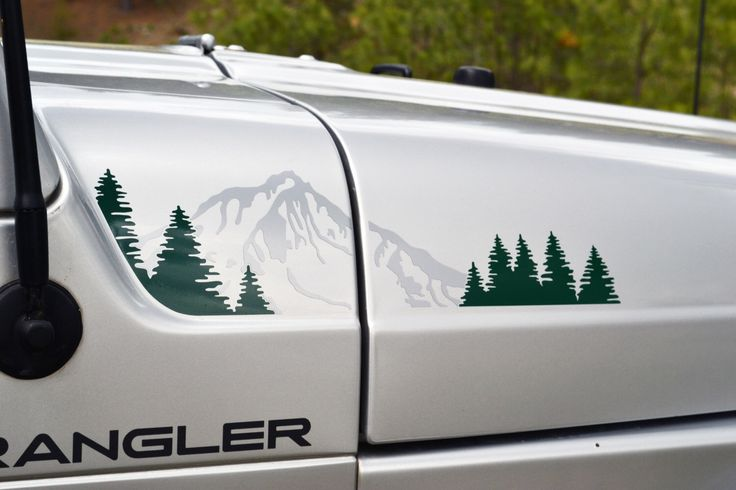 Jeep Wrangler TJ 2 Color Extended Hood with Mountain and Trees Decal Full Set by GraphicForest on Etsy https://www.etsy.com/listing/233721497/jeep-wrangler-tj-2-color-extended-hood