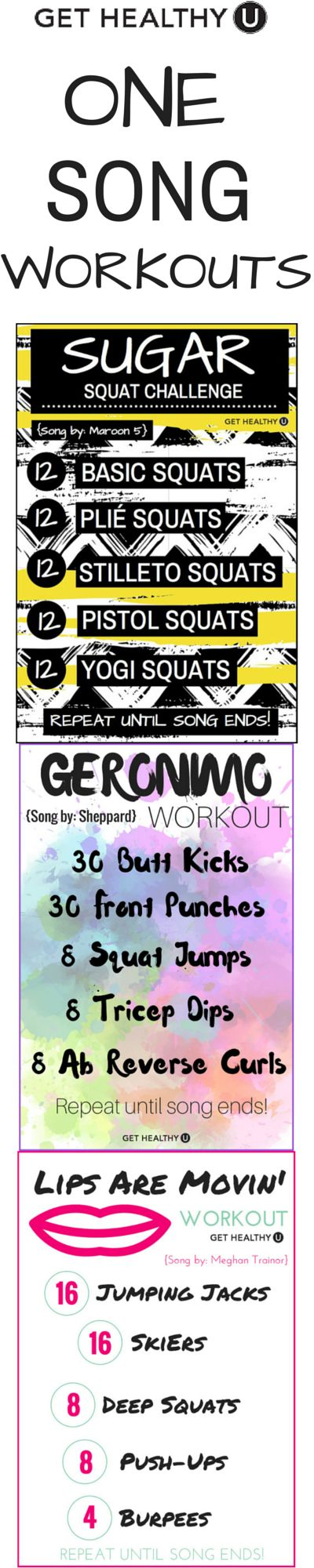 Turn on the tunes and turn up the sweat. Here are five mini-workouts that fit perfectly with five hit songs!