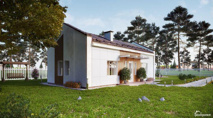 Тренд-103 Проект одноэтажного частного дома с двускатной металлической кровлей