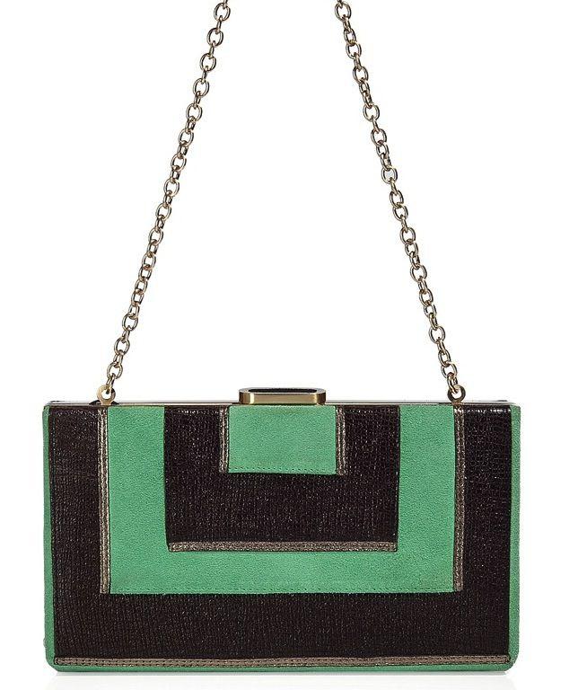 A gorgeous green and black clutch from Diane Von Furstenberg.