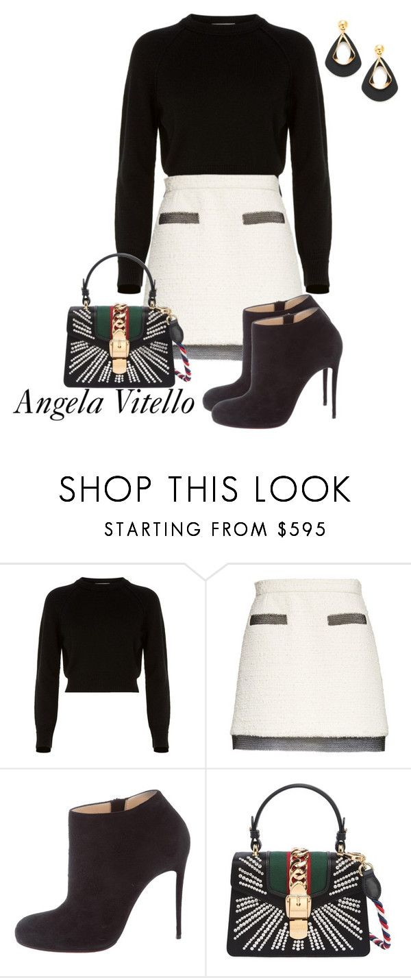 """""""Untitled #1077"""" by angela-vitello on Polyvore featuring Helmut Lang, Alexander Wang, Christian Louboutin and Gucci"""