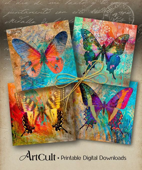 Printable Digital Collage Sheet ENCHANTED BUTTERFLIES for Coasters Greeting Cards Gift Tags Vintage scrapbooking Paper Craft downloads