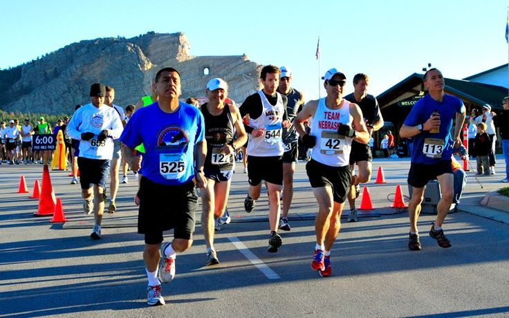 The Run Crazy Horse Marathon events begin in the shadow of the world's largest mountain carving,  Crazy Horse Memorial, and finishes in the heart of the Black Hills... Hill City, South Dakota
