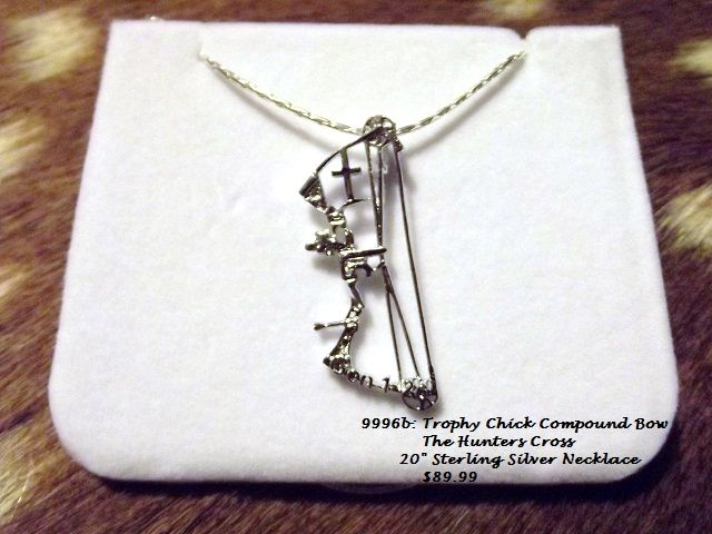 """Sterling Silver Hunters Cross Necklace on a 20"""" chain -Compound Bow  $99.99 TrophyChickApparel.com Or HuntersCross.com"""