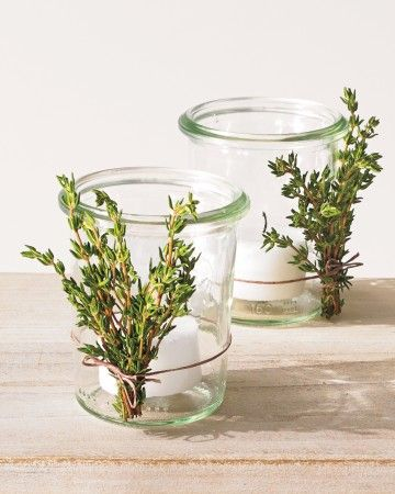 For a folksy touch of fragrance, pluck a leftover sprig from your favorite herb plant and tie it to a small candleholder.