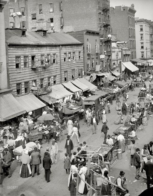 "New York City circa 1900. ""Jewish market on the East Side."" 8x10 inch dry plate glass negative, Detroit Publishing Company."