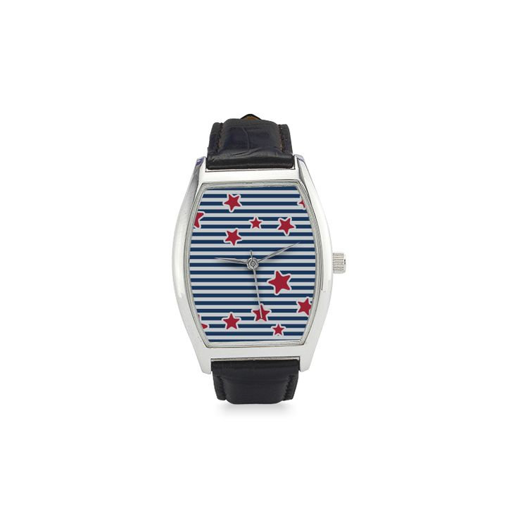 Blue, Red and White Stars and Stripes Barrel Style Leather Strap Watch(Model 207)
