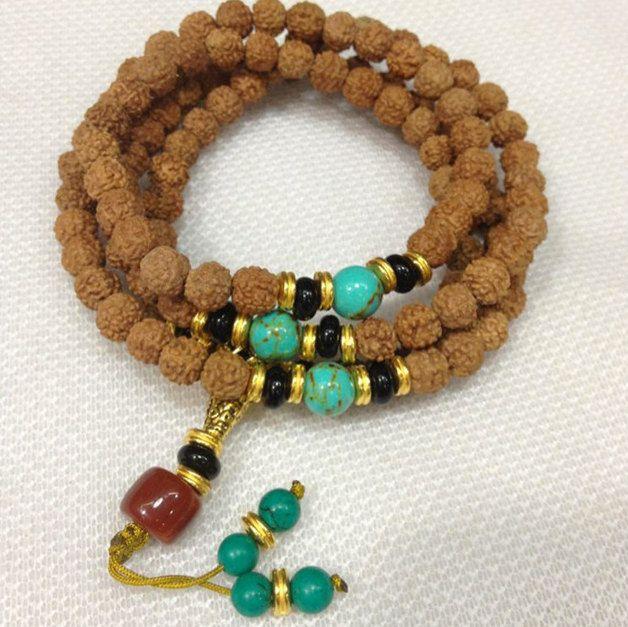 Description Natürlich 10mm Small King Kong 108 Bodhi Perlen Türkis Spacer Perle Armband Halskette Uni Grösse Buddha Gebet Tibet Nepal Perle - 302-886  SKU:           LKM-BUDDHA-302-886        TYPE:...