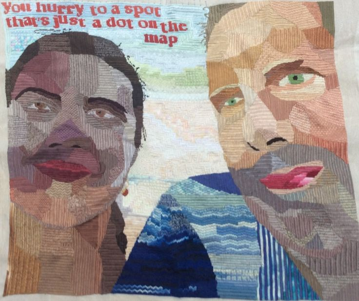 The lyrics of songs inspire my embroideries. These come from The Tender Trap (M. Shulman & R. Smith, 1955), an MGM musical with Frank Sinatra, Debbie Reynolds, David Wayne and Celeste Holm. #needlepoint #needlework #embroidery #selfie #sinatra