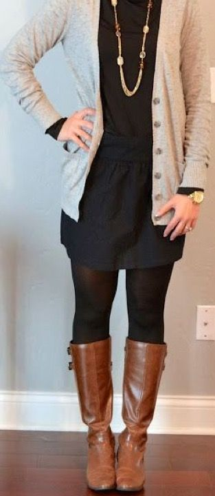 Stitch Fix 2017 Fashion. Black dress, tights, brown boots and nude cardigan. #Stitchfix #Sponsored