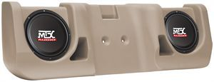 MTX Audio Vehicle Specific Custom Subwoofer Enclosure for 1999-2006 Chevy Silverado Ext. Cab. Also fits GMC and 3-door models. Available in Tan or Charcoal. Installs under rear seat. Made in USA.