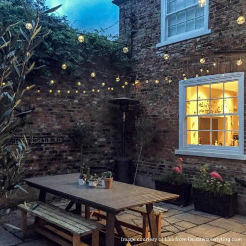 Outdoor Festoon Lights, Connectable, Warm White Clear LEDs, Black Cable