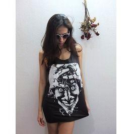 Joker Cartoon Skull Goth Punk Pop Art Fashion Rock Tank Top M