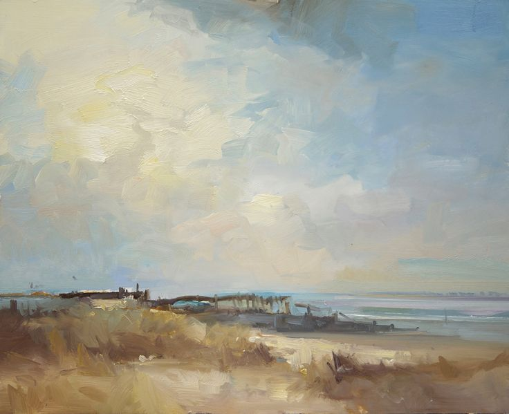 David Atkins West Wittering, March Oil on Panel 71 x 87 cm  #Art #Paintings #Landscape #Wittering