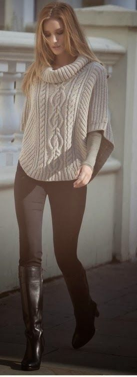 World of Women Fashion: Oversize Long Neck Sweater with Black Leggings and...