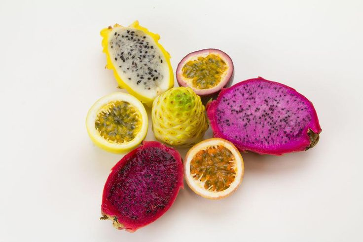 Organic Hawaiian Noni + Pink, Red, and Yellow Dragon Fruit + Tri-Color Passion Fruit. YUM!